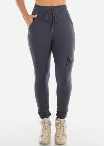 Image of High Waisted Side Stripe Stretchy Charcoal Cargo Jogger Pants