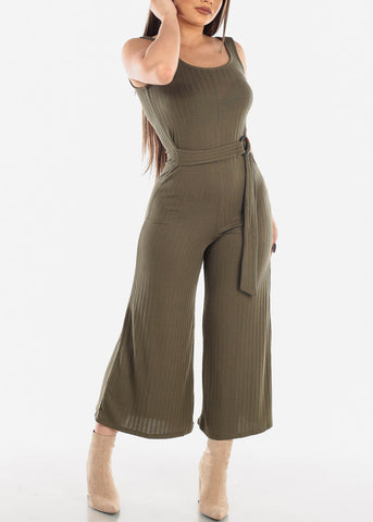 Olive Jumpsuit Wide Legged