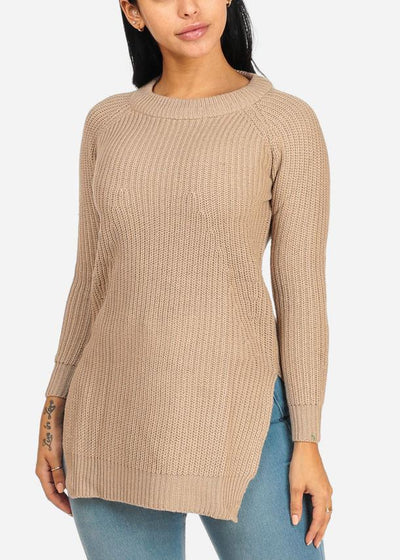 Cozy Knitted Khaki Long Sweater