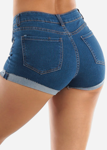 Mid Rise Blue Denim Shorts