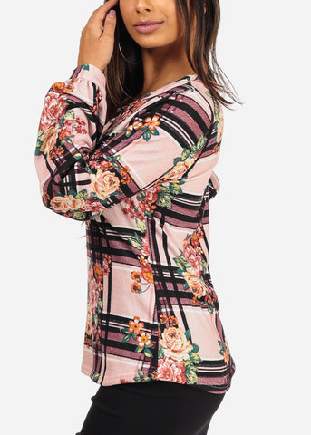 Stylish V Neckline Long Sleeve Floral And Stripe Print Pink Blouse Top