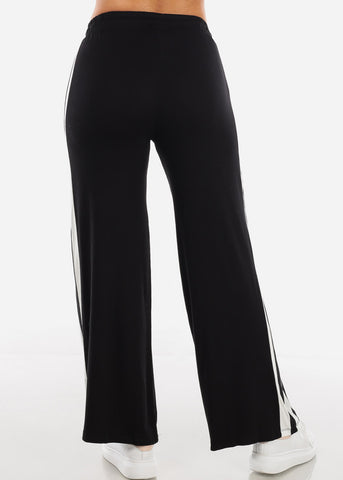 Image of Side Stripe Wide Leg Black Pants 70858BLK
