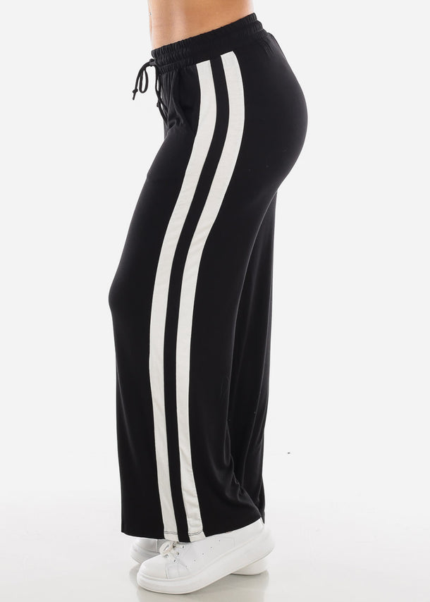 Side Stripe Wide Leg Black Pants 70858BLK