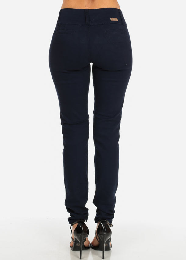 Navy Butt Lifting Twill Pants