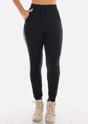 High Waisted Side Stripe Stretchy Black Jogger Pants Activewear
