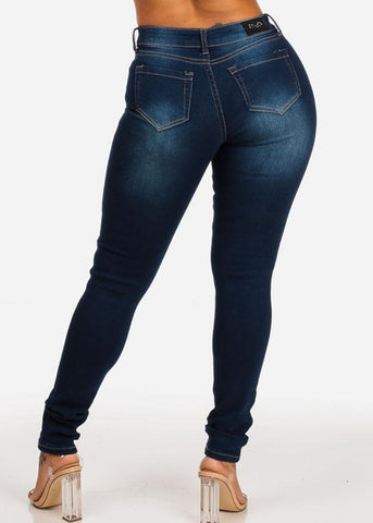 Dark Wash Distressed Stretchy Skinny Jeans