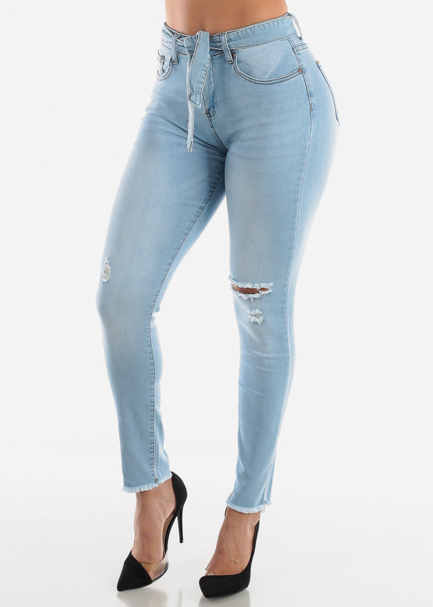 High Waisted Torn Light Wash Skinny Jeans