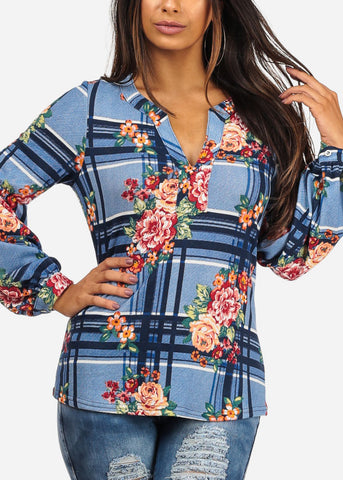 Stylish V Neckline Long Sleeve Floral And Stripe Print Blue Blouse Top