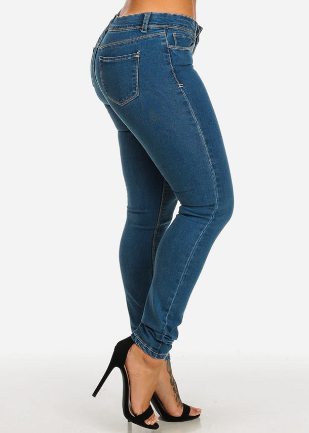 Stretchy One Button Denim Jeans