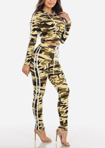 Image of Olive Camouflage Top & Pants (2 PCE SET)