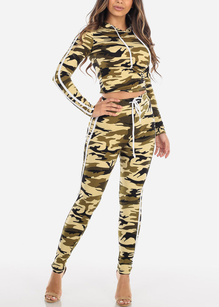 Cheap Olive Camouflage Top & Pants
