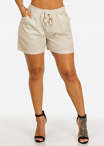 Image of Linen Drawstring Sand Casual Shorts