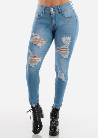 High Waisted Distressed Light Wash Skinny Jeans