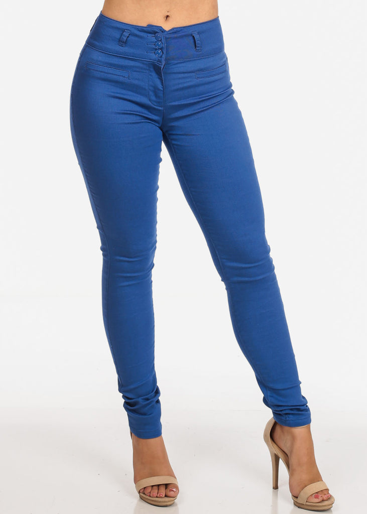 Women's Junior Ladies Stylish Going Out Comfortable Stretchy 3 Button High Waisted Solid Blue Skinny Pants