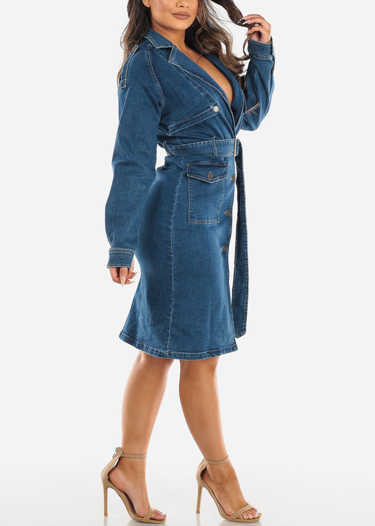 Med Wash Trench Denim Dress