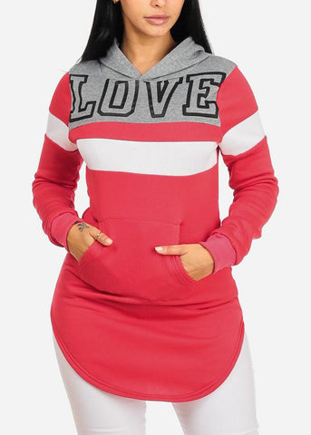Image of Love Graphic Hot Pink Tunic Hoodie