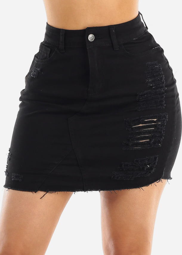 Torn Black Denim Skirt