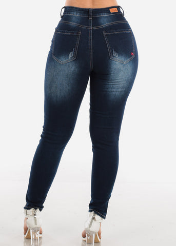 Image of Sexy High Waisted Dark Wash Ripped Distressed Skinny Jeans With Leg Zipper For Women Ladies Junior