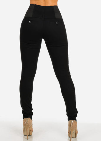 Image of High Waisted Elastic Band Pants (Black)