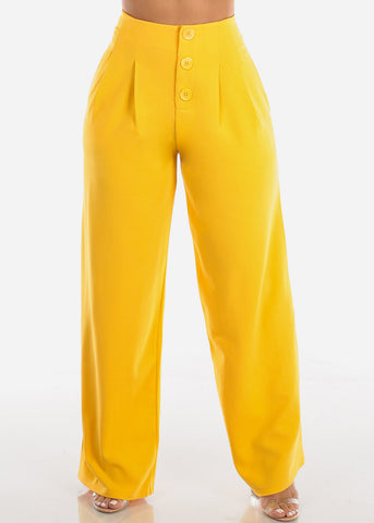 Image of High Rise Wide Leg Yellow Pants