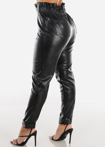 Super High Rise Black Pleather Pants