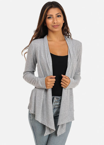 Grey Asymmetrical Hem Cardigan