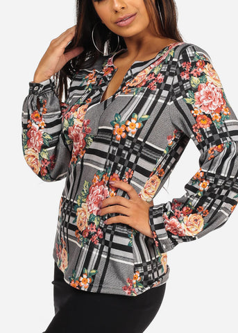 Stylish V Neckline Long Sleeve Floral And Stripe Print Grey Blouse Top