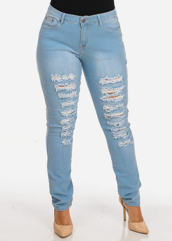 Image of Women's Stylish Curvy Super Stretchy Body Sculpting Plus Size Distressed Light Wash Skinny Jeans