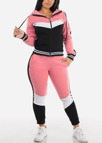 Image of Pink Colorblock Jacket & Jogger Pants (2 PCE SET)
