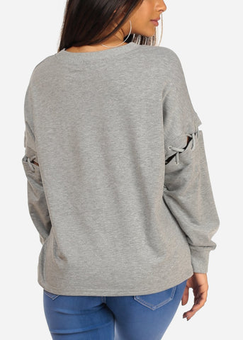 Casual Lace Detail Round Neckline Solid Grey Sweater Top
