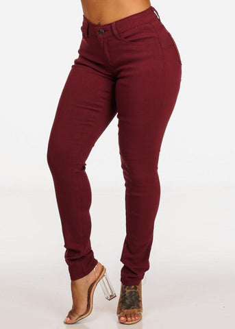 Burgundy Butt Lifting Stretchy Skinny Jeans