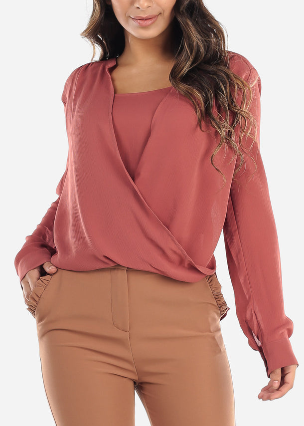 Brick Wrap Front Blouse
