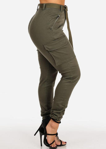High Rise Cargo Style Olive Jogger Pants W Belt