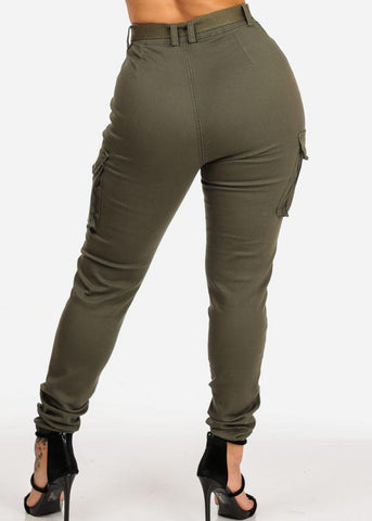 Image of Affordable Olive Jogger Pants W Belt