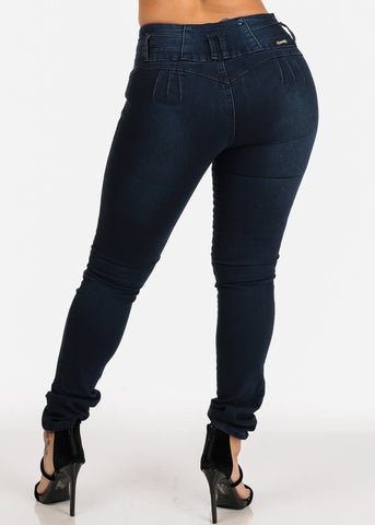 Colombian Design Dark Wash Butt Lifting Mid Rise Skinny Jeans