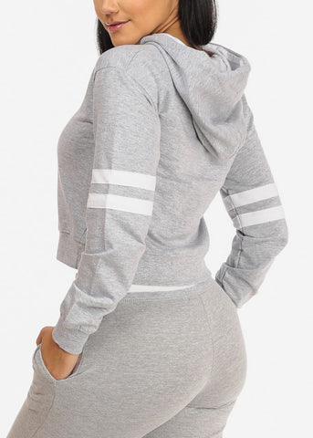 Solid Grey Cropped Pullover Sweatshirt W Hood