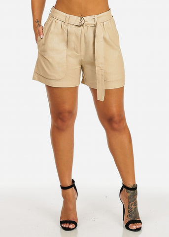 Image of Belt Tie Linen Beige Shorts