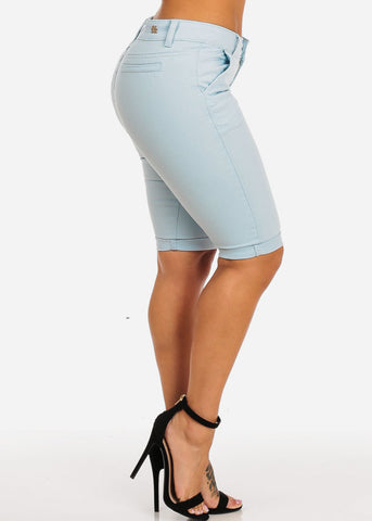 Image of Blue Cuffed Hem Bermuda Shorts