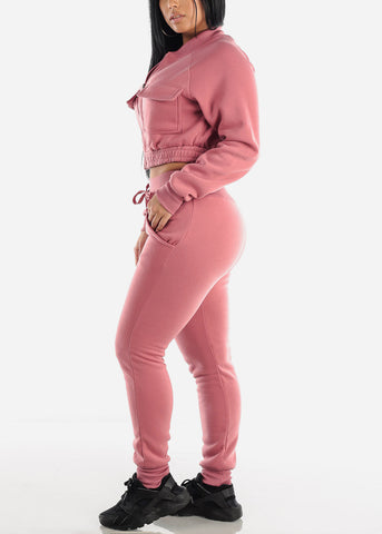Image of Mauve Cropped Jacket & Jogger Pants (2 PCE SET)