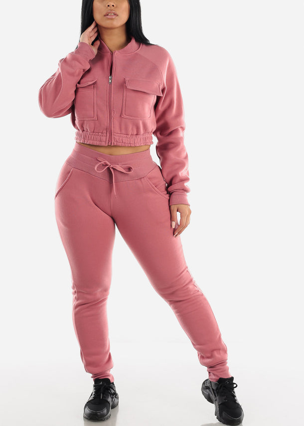 Mauve Cropped Jacket & Jogger Pants (2 PCE SET)