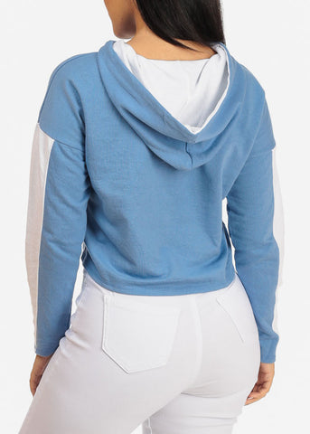 Image of Blue Cropped Sweatshirt