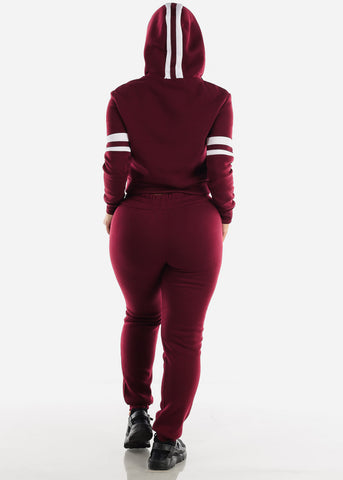 Fleece Burgundy Hoodie & Jogger Sweatpants (2 PCE SET)
