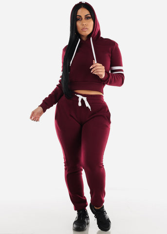 Image of Fleece Burgundy Hoodie & Jogger Sweatpants (2 PCE SET)