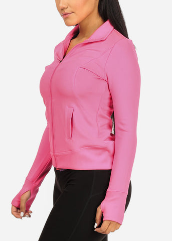 Activewear Long Sleeve stretchy Zip Up Thumb Hole Pink Jacket