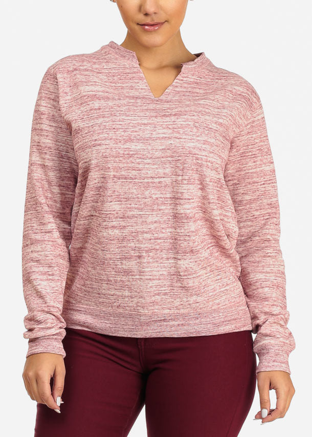 Cheap Heather Rose Pink Pullover Sweatshirt
