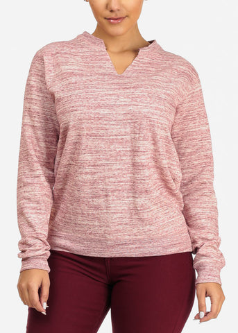 Image of Cheap Heather Rose Pink Pullover Sweatshirt