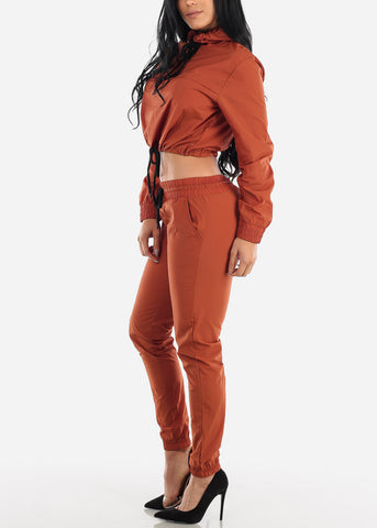 Image of Brown Windbreaker Jacket & Pants (2 PCE SET)