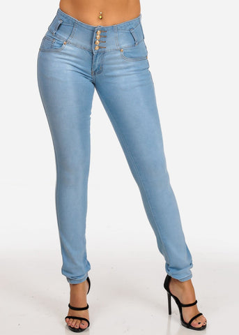 Image of Mid Rise 3 Button Light Wash Butt Lifting Levanta Cola Light Wash Skinny Jeans