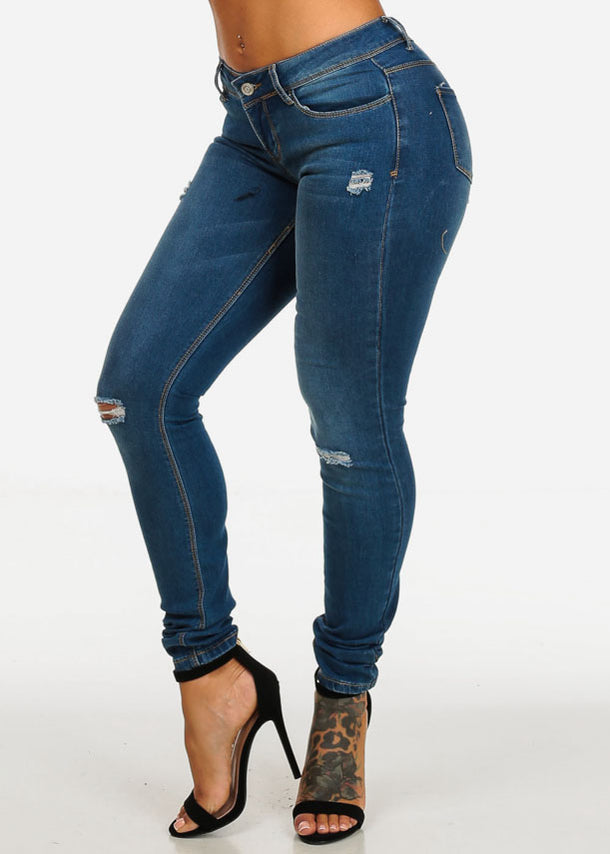 Cheap Ripped Med Wash Denim Jeans