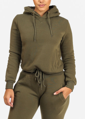 Drawstring Hem Green Sweater W Hood